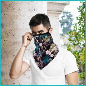 face mask Accessories - 🌴 Tropical Floral Mask Scarf w/ Ear Loops